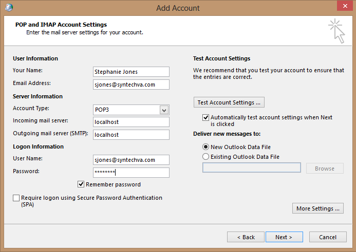 Smtp relay with office 365 synergy technical llc - Office 365 server settings outlook ...